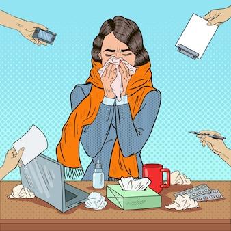 Mujer de negocios de arte pop estornudar en el trabajo de oficina multitarea