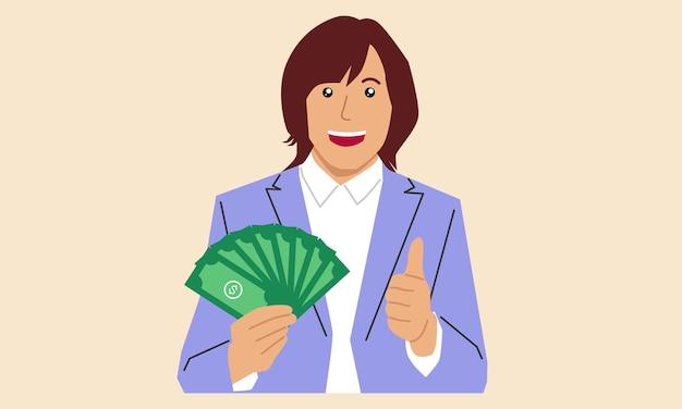 Mujer de negocios, asimiento, dinero