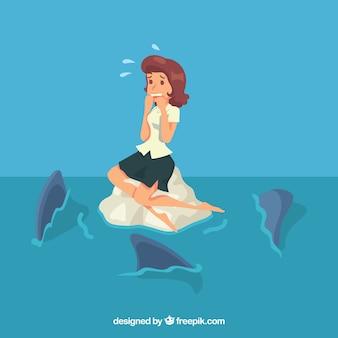 Mujer de negocios asustada entre tiburones