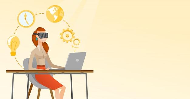 Mujer de negocios en las auriculares del vr que trabajan en una computadora