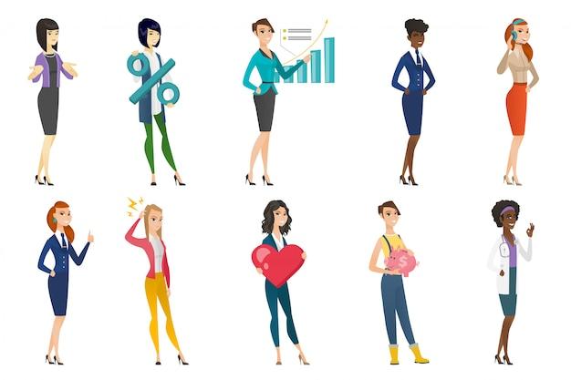 Mujer de negocios, azafata, doctor profesión conjunto