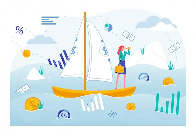 Mujer de negocios en barco con billetes saill flat.