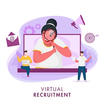 Mujer de negocios buscando un candidato de trabajo desde la computadora portátil y los hombres usan máscara protectora sobre fondo abstracto para el concepto de contratación virtual.