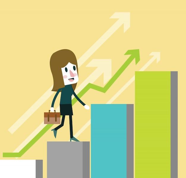 Mujer de negocios caminar en crecimiento gráfico. diseño de personajes planos ilustración vectorial