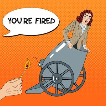 Mujer de negocios de cañón de arte pop es despedida.