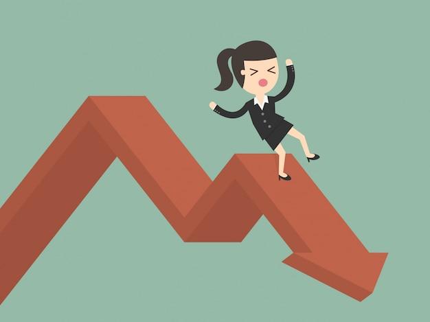 Mujer de negocios cayendo