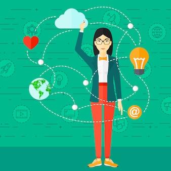Mujer de negocios y cloud computing.