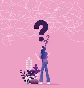 Mujer de negocios confusa que soluciona un problema