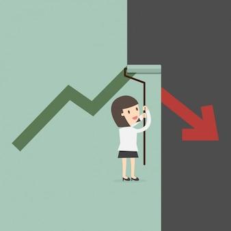 Mujer de negocios corrigiendo el gráfico decreciente