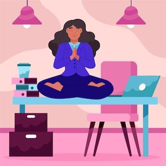 Mujer de negocios de dibujos animados meditando