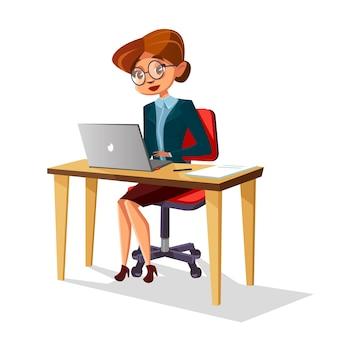 Mujer de negocios de dibujos animados en traje corporativo sentado en el escritorio de trabajo escribiendo en la computadora portátil