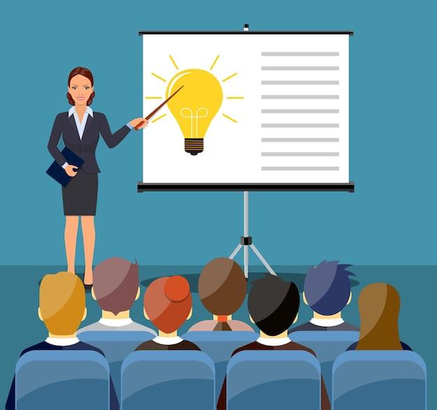 Mujer de negocios, elaboración, presentación