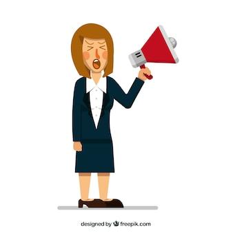 Mujer de negocios enfadada con megáfono