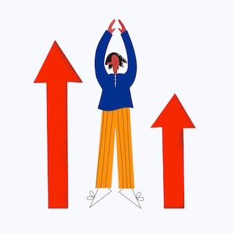 Mujer de negocios étnica con flechas hacia arriba