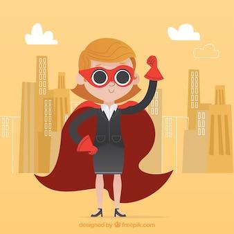 Mujer de negocios exitosa con capa y antifaz