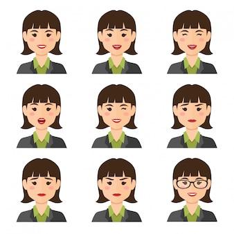 Mujer de negocios, expresiones, avatar