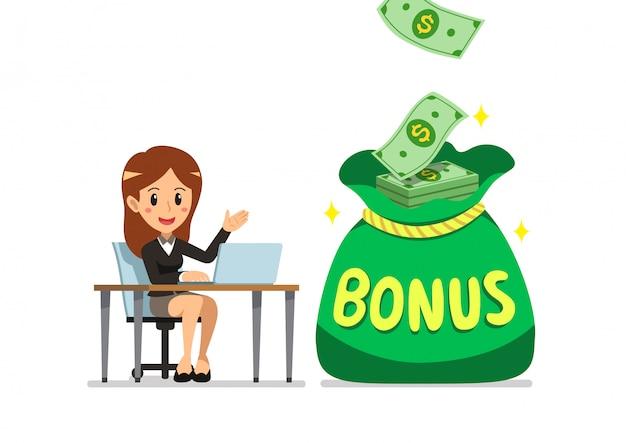Mujer de negocios feliz de dibujos animados de vector con bolsa de dinero de bonificación grande