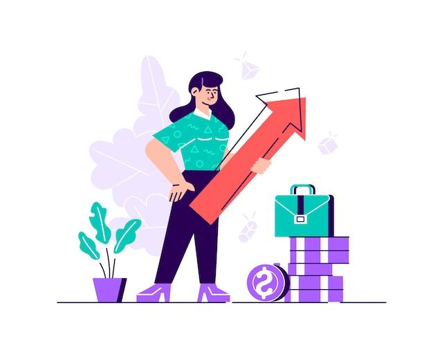Mujer de negocios con flecha apuntando hacia arriba indicando éxito. ilustración de diseño moderno de estilo plano para página web, tarjetas, póster, redes sociales.