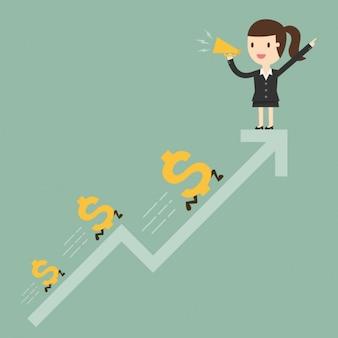 Mujer de negocios en una flecha ascendente