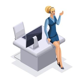 Mujer de negocios con gadgets, computadora, auriculares para call center, recepción de pedidos en línea, ilustración