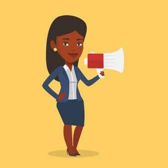 Mujer de negocios hablando por megáfono.
