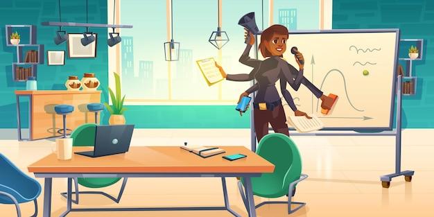 Mujer de negocios hacer presentación en oficina