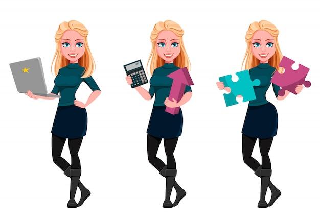 Mujer de negocios hermosa joven, conjunto de tres poses