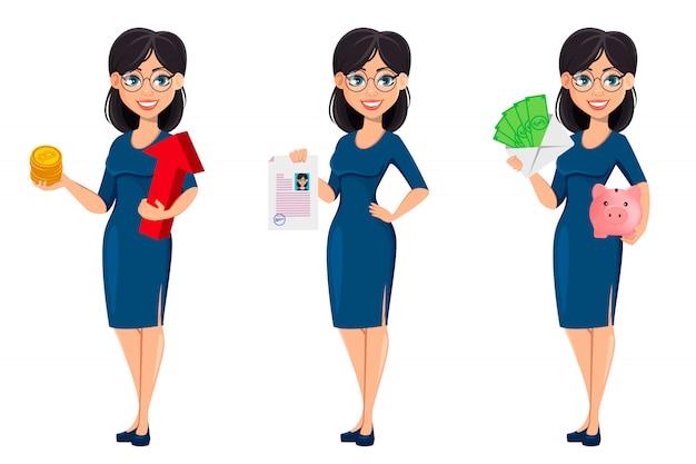 Mujer de negocios hermosa joven en vestido azul