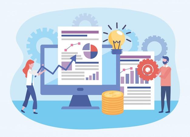 Mujer de negocios y hombre de negocios con diagramas y estadísticas de la barra de documentos