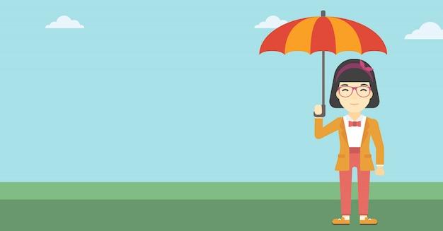 Mujer de negocios con la ilustración del vector del paraguas.