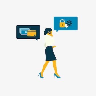 Mujer de negocios ilustrada con seguridad bancaria en línea.