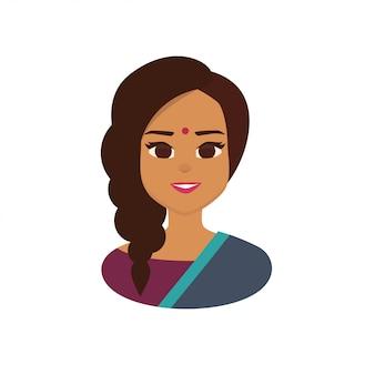 Mujer de negocios india joven que lleva el traje indio tradicional.