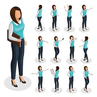 Mujer de negocios isométrica con empresaria vistiendo ropa de oficina y de pie en diferentes poses aisladas