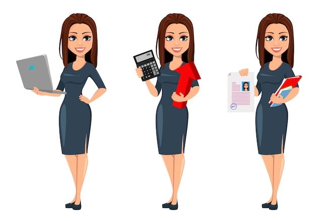 Mujer de negocios joven moderna en vestido gris