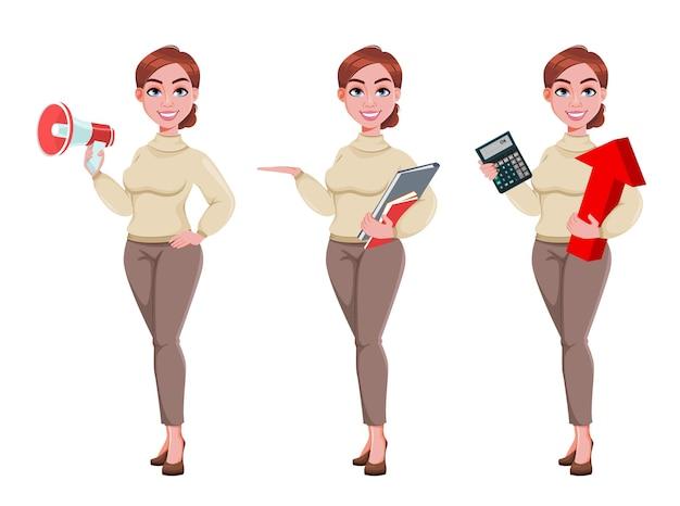 Mujer de negocios joven. personaje de dibujos animados bastante empresaria