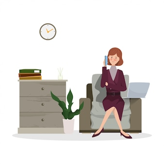 Mujer de negocios joven que trabaja en la computadora portátil. dibujado a mano carácter personas que trabajan diseño de trabajo.