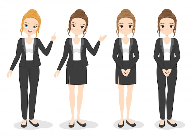 Mujer de negocios joven en ropa de oficina con diferentes poses de mano y color de pelo. chica de dibujos animados plana en uniforme formal (vestido, pantalón, traje). ilustración.
