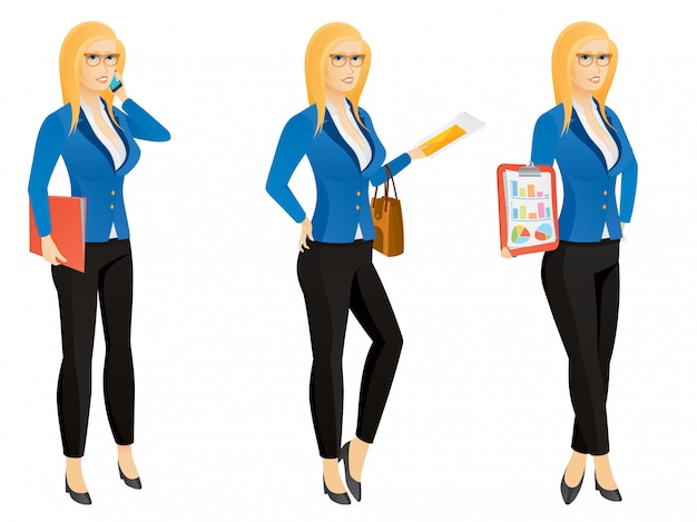 Mujer de negocios joven sexy de dibujos animados o secretaria en varias poses