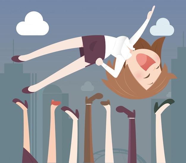 Mujer de negocios lanzada al aire
