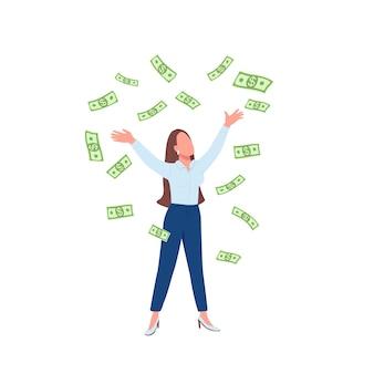 Mujer de negocios lanzando dinero en efectivo hasta personaje sin rostro de color plano. señora exitosa. logro financiero. ilustración de dibujos animados aislados millonario femenino para diseño gráfico web y animación