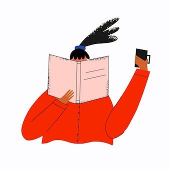 Mujer de negocios lee y bebe café
