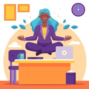 Mujer de negocios meditando ilustración plana