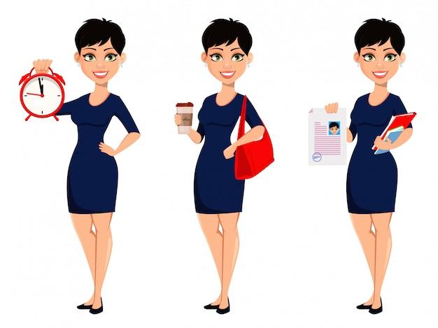 Mujer de negocios moderna feliz con corte de pelo corto