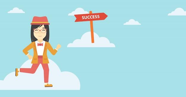 Mujer de negocios en movimiento hacia el éxito.