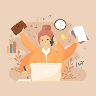 Mujer de negocios multitarea dibujada a mano plana