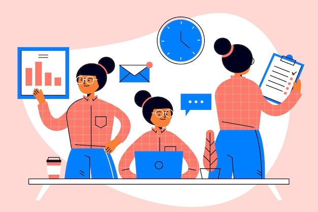 Mujer de negocios multitarea dibujada a mano