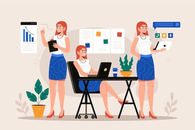 Mujer de negocios multitarea de ilustración plana