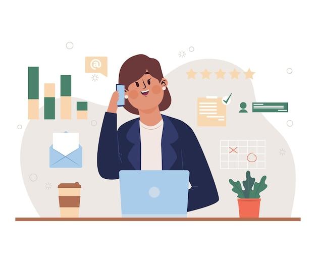 Mujer de negocios multitarea ilustrada