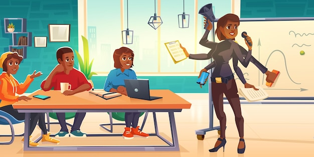Mujer de negocios multitarea con reunión de muchos brazos