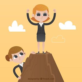 Mujer de negocios orgullosa en la cima de una montaña
